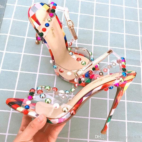 Бесплатная доставка Женская мода Насосы многоцветный матовая кожа шипованные шипы лодыжки босоножки обувь тонкие каблуки сандалии