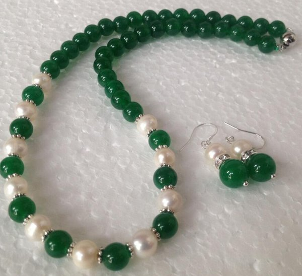 jewelry free 00811 Natural white Akoya Pearl/Green Jade Fashion Jewelry Necklace Earrings set