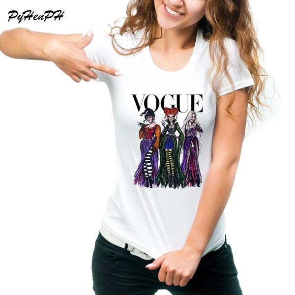 Vogue Hocus Pocus T-Shirt Kadın Cadılar Bayramı Tasarım Tshirt Kısa Kollu Tee Gömlek Femme Yaz Tarzı Tişörtlerin Tumblr Giyim