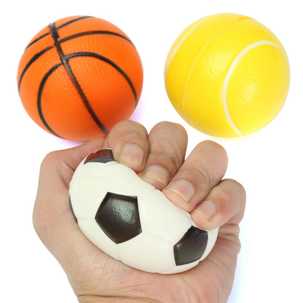 PU Sponge Soft Foam Ball Exercise Stress Relief Squeeze Tennis Ball/Basketball/Football Gift Toy Fitness Balls 10CM kids funny gadget