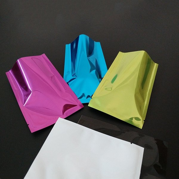 100pcs/lot 6 colors aluminum foil heat seal vacuum bag food tea coffee open top package bag 5 sizes mylar home accessories packing pouch