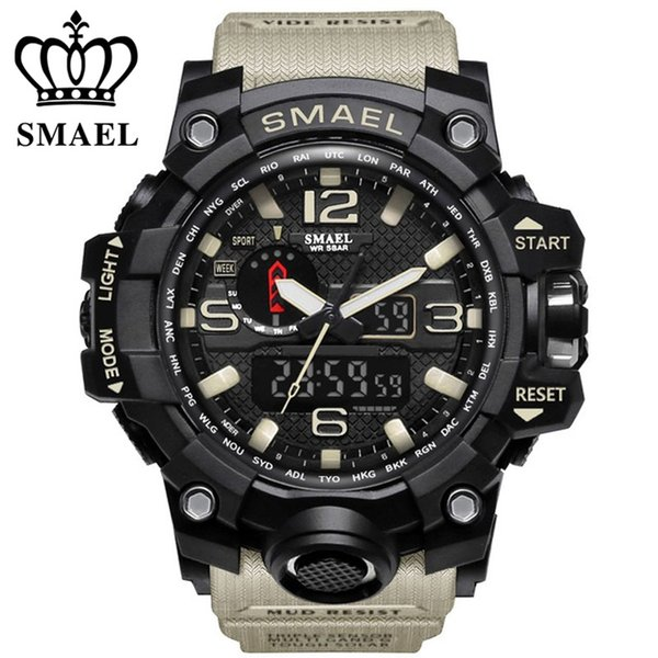 clock brand SMAEL brand men sports watches dual display analog digital LED Electronic quartz watches 50M waterproof swimming watch1545 clock