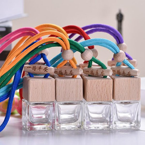 6ML transparent bottles Quartet pendant glass Hanging Car Perfume Bottle Pendant Empty Car Parfume Bottle Refill Car Fragrances LX4220