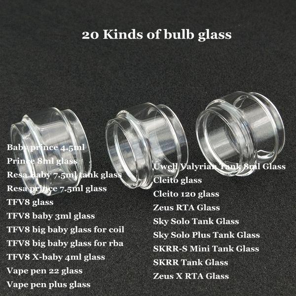 Tubo de vidrio de burbuja de la bombilla de Fat Extend para TFV12 príncipe Resa TFV8 gran bebé RBA X-baby Vape pluma 22 más Cleito 120 Sky Solo Plus SKRR-S Mini DHL