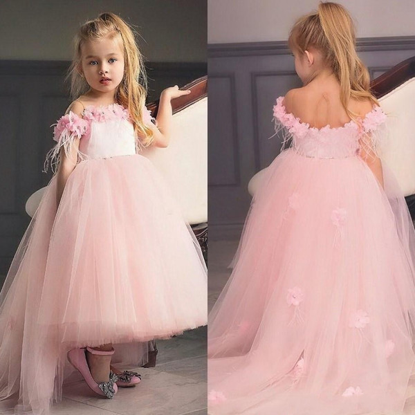 New Princess Hi-lo Blush Pink Girl's Pageant Dresses Lace Flowers Puffy Ruffles Organza Skirt Wedding Flower Girls' Ball Gowns