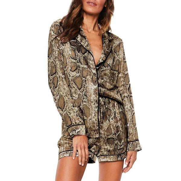 Snake Printed Pyjamas Women Sleepwear Pyjama Femme Lingerie Sexy Sets Lingerie Sleepwear Summer 2019 Long Sleeve Gothic Pajamas