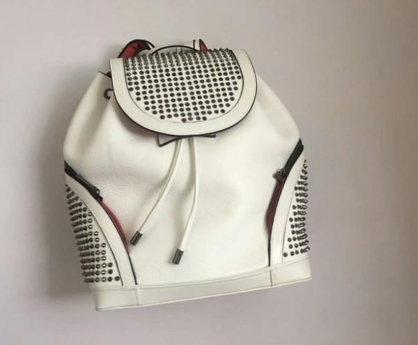Estilo da rocha e da moda designer preto Mulheres mochila fashio mens mochilas bolsa de viagem sacos de Prata Rebite Preta