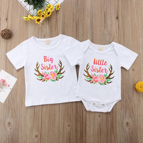 hermana pequeña onesies para niñas blancas camiseta de manga corta Summer Outfit Romper Bloomers Shorts Conjunto de ropa