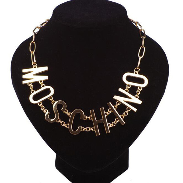 Eur Fashion Punk Letters Chokers Necklace 14K Gold Letters Clavicle Chain Women Girl Stage Act The Role Ofing Is Tasted Jewelry