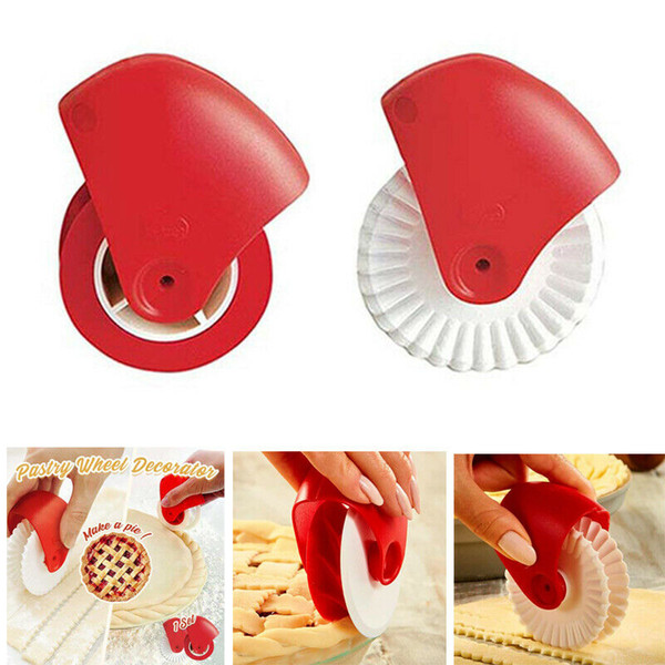 2PCS/Set Kitchen Pizza Pastry Lattice Cutter Pastry Pie Decor Cutter Plastic Wheel Roller for Pizza Pastry Pie Crust Baking Cutter Tools