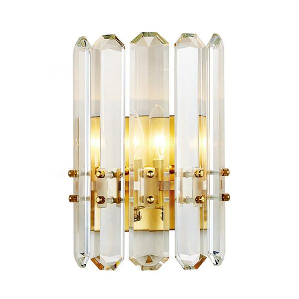 Delin Gold Wall Sconce Lighting AC90-260V Modern Crystal Wall Lamp Bedroom Living Room LED Light Fixtures