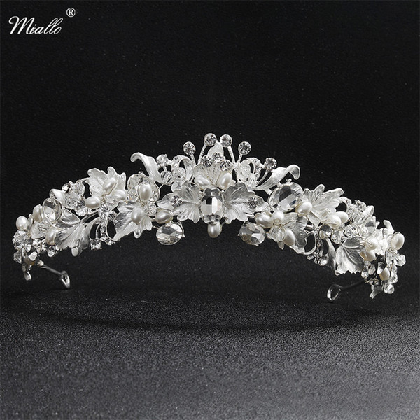 Miallo Newest Beautiful Flower Rhinestone Alloy Tiaras And Crowns Wedding Hair Accessories Bridal Headpiece For Women J 190430