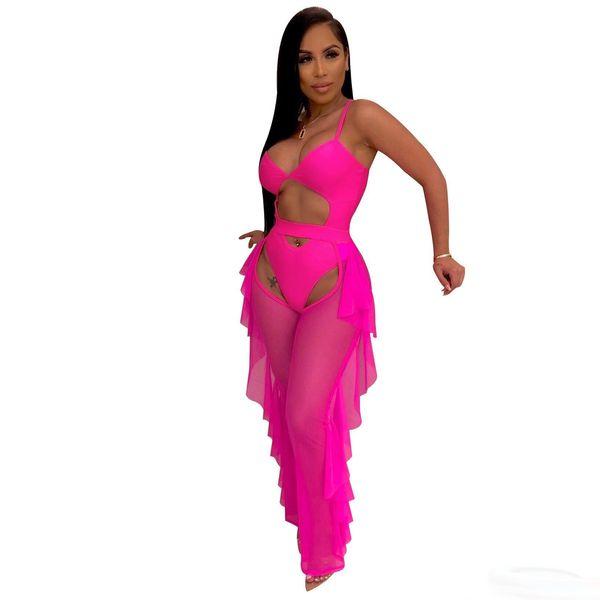 Floresan Renk Moda Rahat Iki Parçalı Set Oymak Spagetti Sapanlar Bodysuit Mayo + Fırfır Şeffaf Mesh Pantolon Set