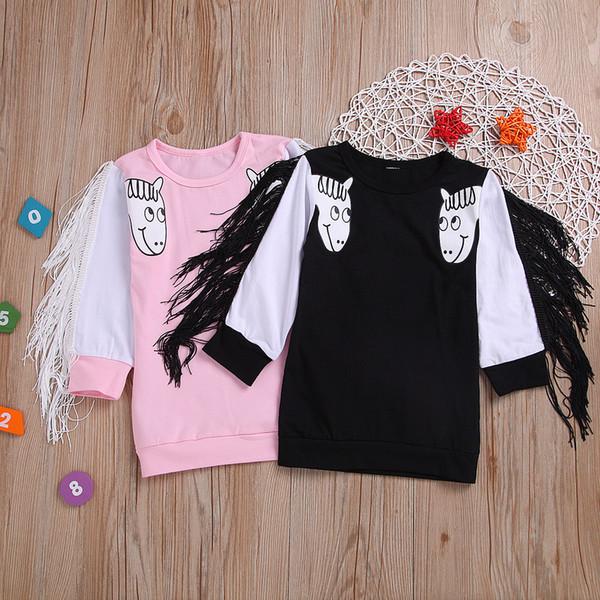 Brand New Toddler Infant Child Baby Girl Kids Unicorn T-Shirt Clothes Tassel Cartoon Sweater Sweatshirt Long Sleeve