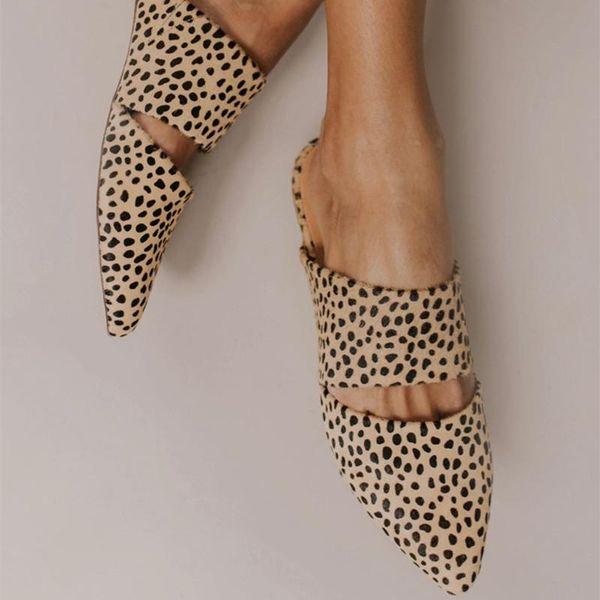 MoneRffi Pantofole muli piatte leopardate Scivoli Vacanze Sandali Punta a punta Scarpe estive da donna Per donna Nuovi cinturini di grandi dimensioni