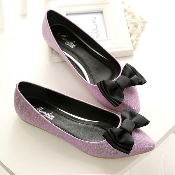 Chaussures Femmes Bow Knot Ballet Chaussures Plus La Taille Mocassins À Bout Pointu Slip Slipow On Slide Femme Noir Argent Rose Sandales Rouge