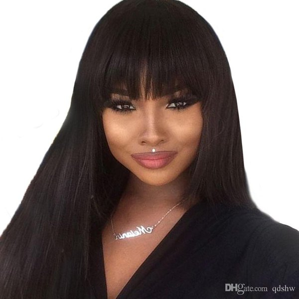 African American Human Hair Wigs Bangs Long Straight Malaysian Virgin Lacefront Wig Glueless Pre Plucked Full Lace Human Hair Wigs With Bang