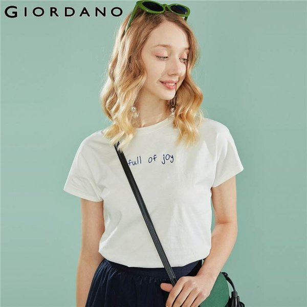 Giordano Women T Shirt Women Embroidered Letter Ribbed O Neck Loose Fit T-shirts Women Fashion Curved Hem Soft Tee Shirt Femme J190511