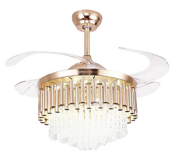 Lampada ventilatore europeo con telecomando LED camera da letto sala da pranzo ventilatore a soffitto lampada ventilatore a soffitto grande famiglia invisibile LLFA