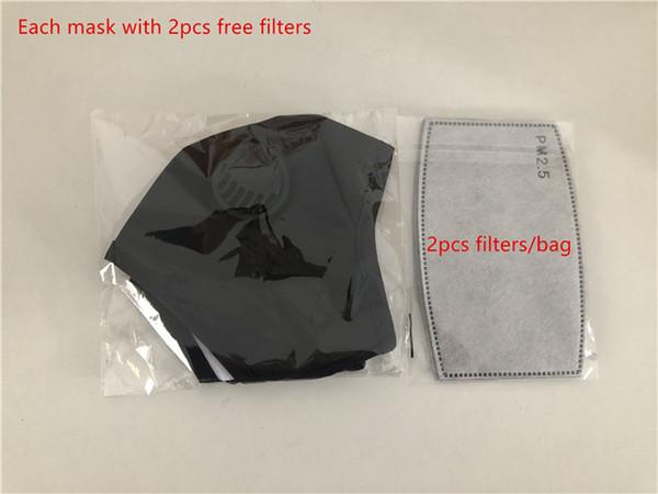 Negro (cada máscara con filtros 2pcs)