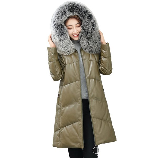 High Quality Genuine Leather Jacket Warm Winter Down Jackets for Women Natural Fox Fur Collar Hooded Real Sheepskin Coat Z286
