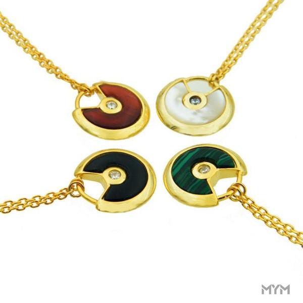 Classic Simple love Collane Pendenti da donna Amuleto in titanio con collana in pietra naturale rossa con collana di agata a conchiglia 18K da uomo