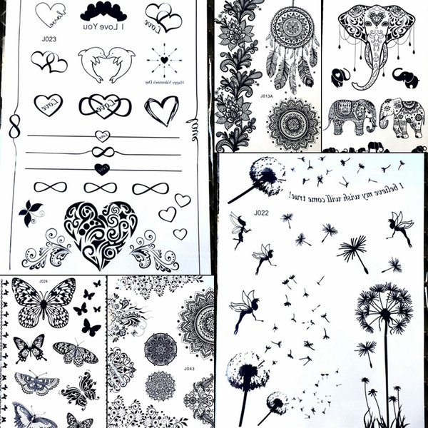 25 Estilo Delfín Corazón De Henna Lindo Tatuaje Temporal Negro Henna Fake Impermeable Tatoo Para Niños Niños De Dibujos Animados Mujeres Body Art Por