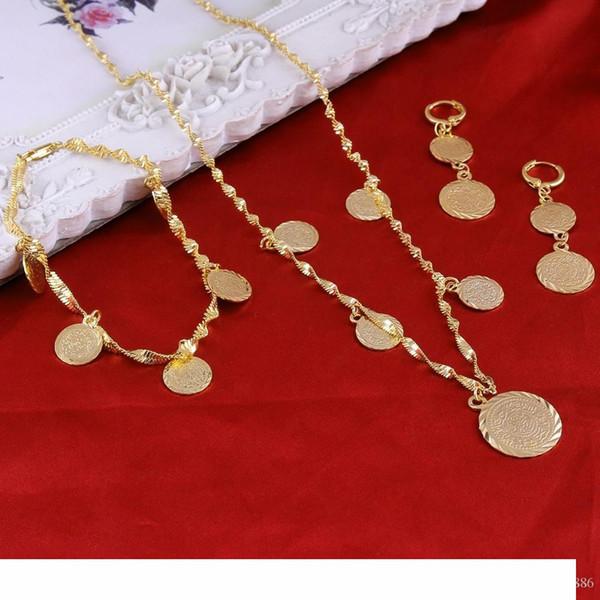 Bracelet Collier Boucles d'oreilles Coin arabe islamique musulman argent Signe Femmes 22K or jaune réel GF Moyen-Orient Afrique orientale Bijoux