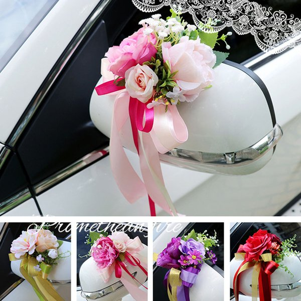 Düğün Arabası Dekorasyon Çiçek Kapı Dikiz Aynası Süsleme Yapay Çiçek J99Store kolları