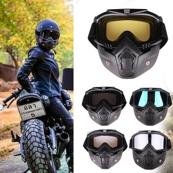 Biker Motosiklet Kask Sürme Yüz Maskesi Gözler ile Gözlük Sürme Gözlük Gözlük Koruyucu Motosiklet Gözlük Sürme Anti-Sis