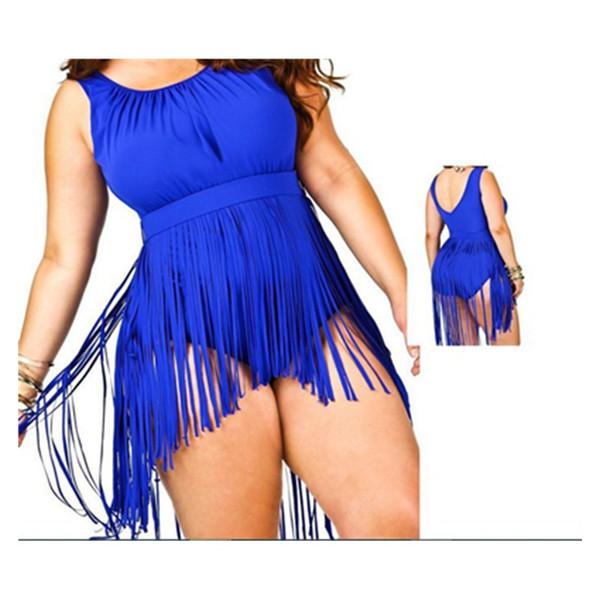 Das mulheres do vintage de cintura alta biquíni push up one piece swimsuit fatos de banho europeu e americano novo estilo de gordura tassled sólida