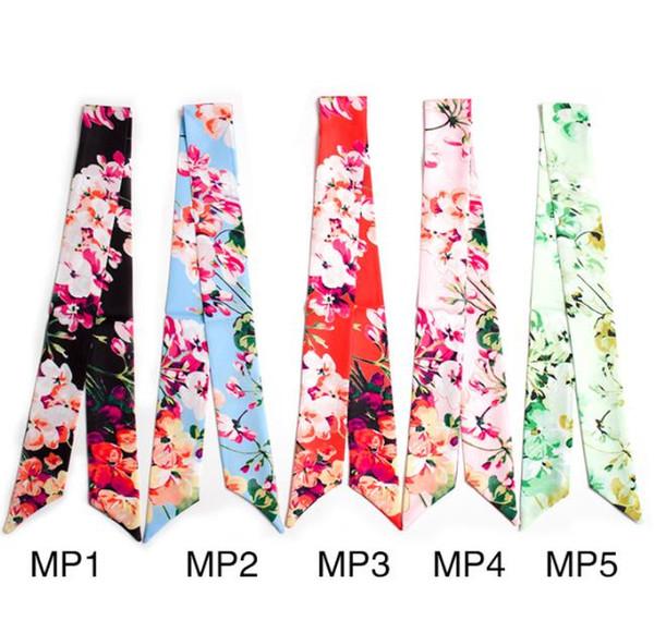 Venta al por mayor bolso caliente de la nueva marca de las mujeres pequeña bufanda de seda estampado de flores manija del bolso de la cinta larga bufandas envuelve