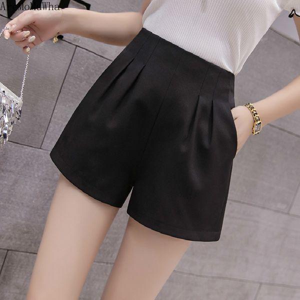 AreMoMuWha Korean Shorts Female Summer New Loose Casual Suit Chiffon Elastic Waist Skirt High Waist Shorts Black QX581