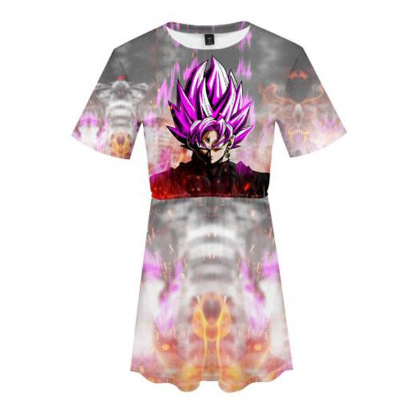 Dragon Ball Super 3D Printed Dress for Women Fashion Summer Short Sleeve Dresses 2019 Hot Sale Casual Streetwear Clothes
