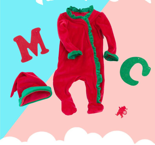 Red Christmas Rompers 0-24 mois à volants One Piece Baby Overall + Hat = 2PCS / Set Hiver Chaud Coton Doux Haute Qualité Nouveau-Né Garçons Filles Vêtements