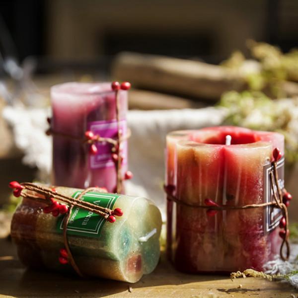 무연 차 촛불 로맨틱 장식 꽃 꽃잎 천연 간장 왁스 촛불 발렌타인 웨딩 크리스마스 아로마 테라피 촛불