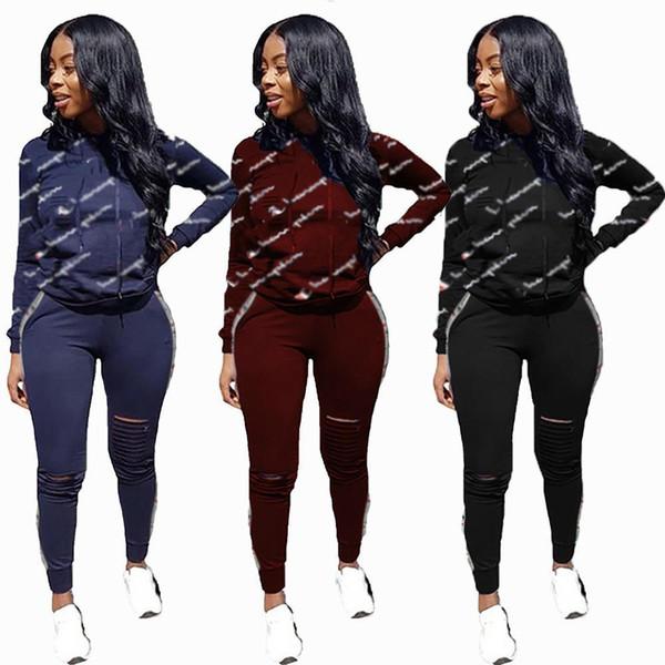 Kadın Spor Eşofman Hoodies Pantolon 2 Parça Kadın Set Kıyafet Hollow Out Katı Renk Bayan Ter Takım Elbise Eşofman Giysi Giyim O1029