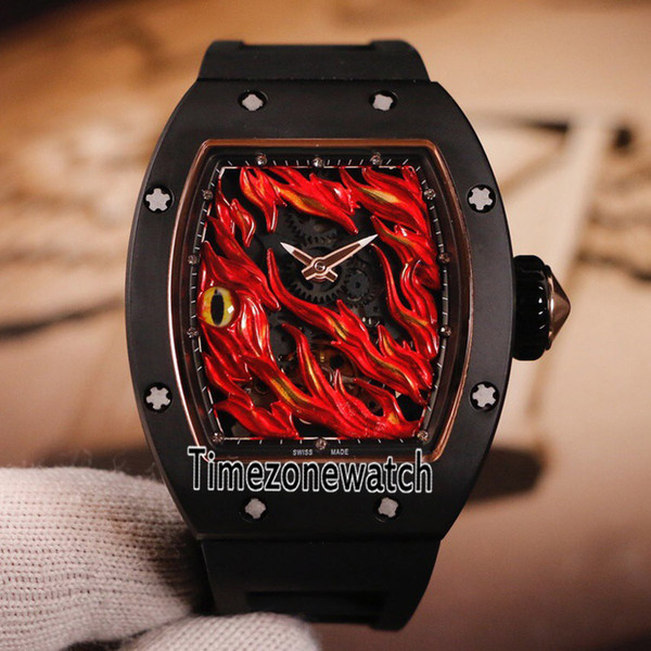 New 26-02 Evil Eye Two Tone Rose Gold Black Ceramic Black Red Skeleton Dial Miyota Automatic Mens Watch Black Rubber Sports Watches E17a1