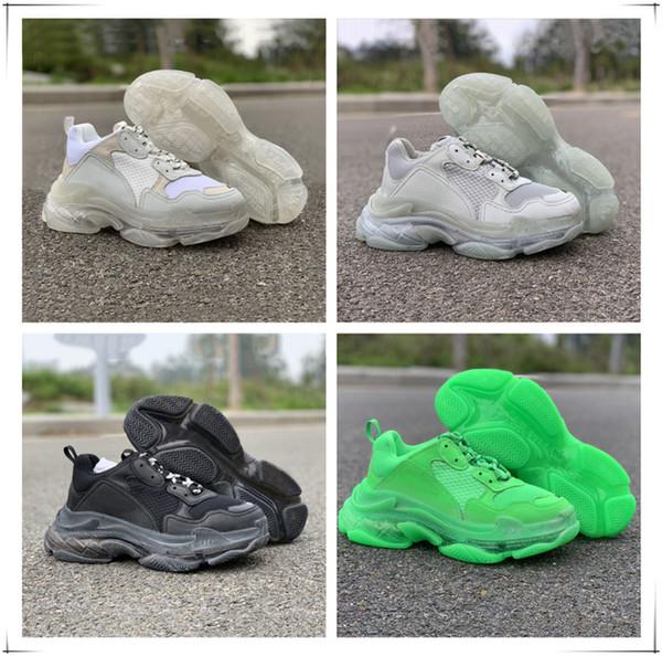 2019 Paris Luxury Triple S 17FW папа кроссовки белый черный серый зеленый роскошный модный дизайнер унисекс спортивная повседневная обувь