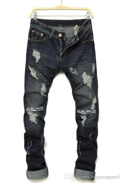 Mens Summer New Vogues Letter Print Ripped Jeans Washed Black Denim Pants High Street Cool Jeans