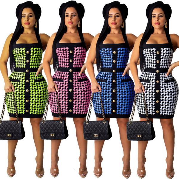 2019 Новые женские Houndstooth печати Холтер шеи спинки цельный платье плюс размер ночной клуб однобортный карман сексуальное платье bodycon CY8158
