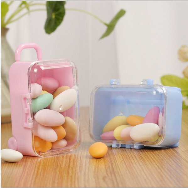 best selling Acrylic Clear Mini Rolling Travel Suitcase Candy Box Baby Shower Wedding Favors Party Table Decoration Supplies Gifts