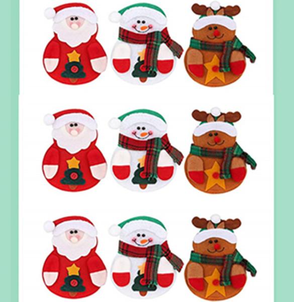 9 PCS Weihnachtsgeschirr Halter Set, Schneemann Weihnachtsmann Elk Messer und Gabel Taschen Abdeckungen für Weihnachten New Year Party Dinner Tischdekoration