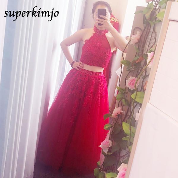 imagen real vestidos de baile dos piezas escote halter abalorios flores de encaje apliques vestido de noche vestidos formales rojos con cuentas