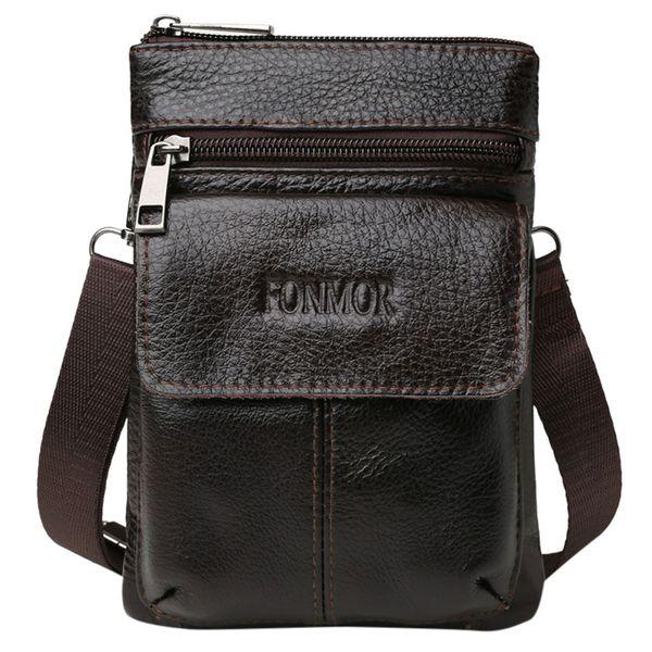 Men Portable Casual Bag First Layer Cowhide Mini Mobile Phone Handbags Shoulder British Fashion Simple Small Messenger Canta P2