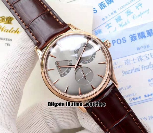 NEW Rose gold case 1372520 Master Ultra Thin Power Reserve Automatic Mens Watch Q1372520 brown Leather Strap Gents new Watches 9 styles