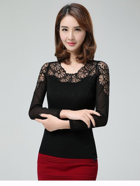 lace Women blouses Fashion Elegant Black Mesh tops Diamonds Sexy lace tops plus size women clothing