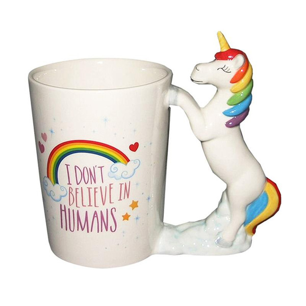 1pcs Unicorn Mugs Cartoon Porcelana 3D Pintado a mano Cerámica Cute Funny Animal Water Cup Coffee Mug para el hogar Drinkware