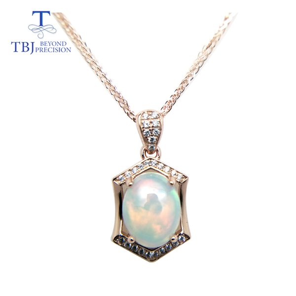 Tbj ,natural Ethopian Opal Oval Cut 8*10 Pendants With Chain In 925 Sterling Silver Gemstone Necklace With Gift Box J190612