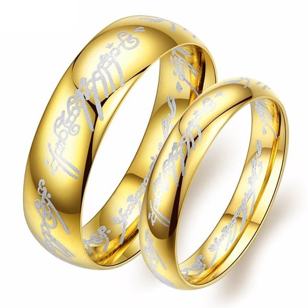 Hobbit Letter Wedding Rings for Lovers' Women Titanium Steel Smooth Golden Color Engagement Couple Ring Men Gift